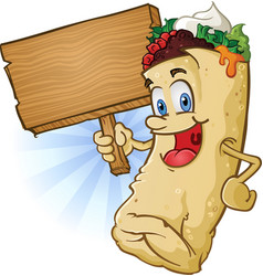 Burrito character holding wooden sign vector