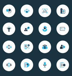 business management icons colored set with success vector image