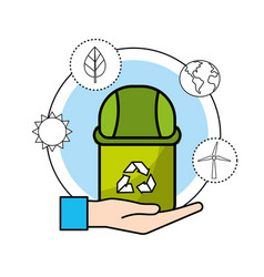 Can trash with environment care icon vector