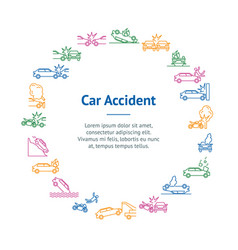 car accident signs thin line banner card circle vector image