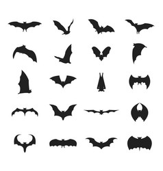 cartoon silhouette black different bats icon set vector image