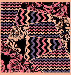 chevron russian floral seamless pattern vector image vector image
