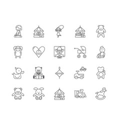 Child daycare line icons signs set vector