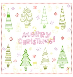 Christmas background with fir trees vector