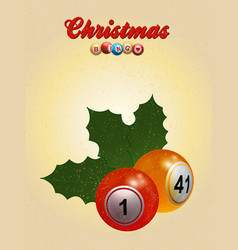 christmas bingo with holly and text vector image