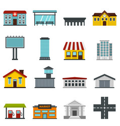 City infrastructure items set flat icons vector