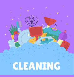 cleaning flat icons with bubbles vector image
