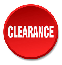 Clearance red round flat isolated push button vector