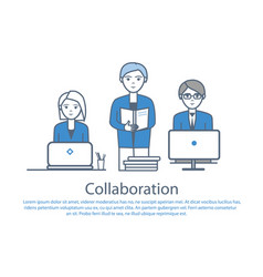 Collaboration people at work poster text vector