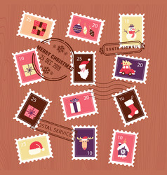 Collection christmas stamps set for letter vector