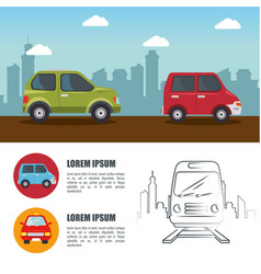 Colorful ehicles infographic vector