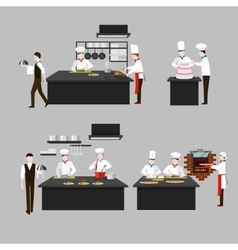 Cooking process in restaurant kitchen vector