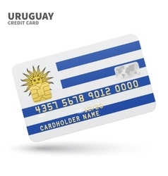 Credit card with Uruguay flag background for bank vector