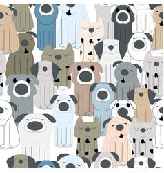 cute dog cartoon pattern vector image