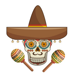 Decorative ornamental sugar skull with mexican hat vector