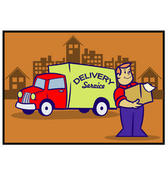 delivery service retro cartoon vector image