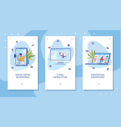 digital marketing onboarding screen flat templates vector image