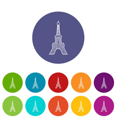 eiffel tower icon outline style vector image