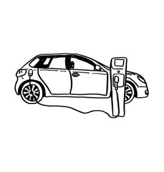 electric car sketch hand drawn vector image