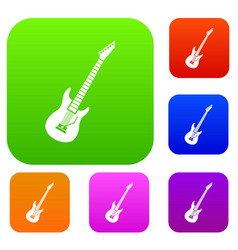 electric guitar set collection vector image