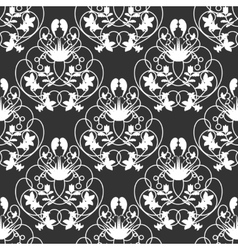 Elegant damask dark seamless background vector image