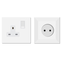 European and uk socket vector