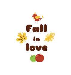 fall in love autumn quotes text pharses prints vector image