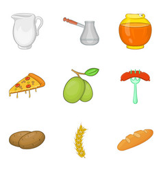 Filling for baking icons set cartoon style vector