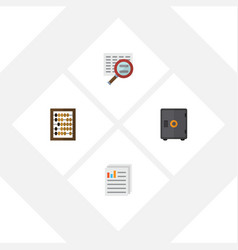Flat exchequer set of document strongbox scan vector
