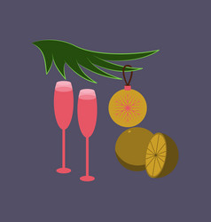 flat on background of glasses champagne oranges vector image