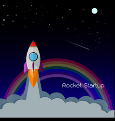 flat rocket and rainbow icon startup concept vector image