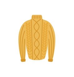 Flat warm knitted wool sweater pullover vector