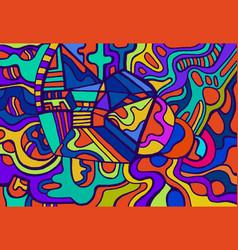 Fun joyful colorful doodle psychedelic background vector