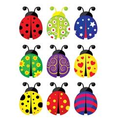 Funny ladybird set vector