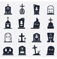Grave icons set vector