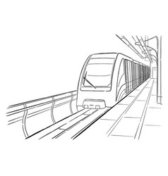 Hand drawn sketch moscow light metro station vector