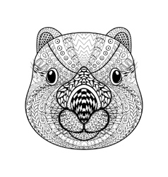 Hand drawn tribal wombat face animal totem vector