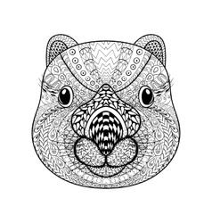 Hand drawn tribal wombat face animal totem vector