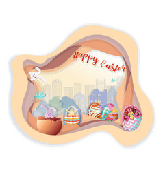 Happy easter with set of easter eggs on step of vector
