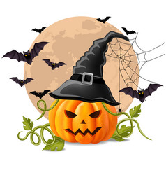 happy halloween background with pumpkin and bats vector image