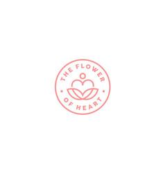 heart love lotus flower yoga spa label stamp logo vector image