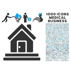 House Front Door Icon with 1000 Medical Business vector image