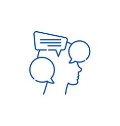 Internal dialogue line icon concept internal vector