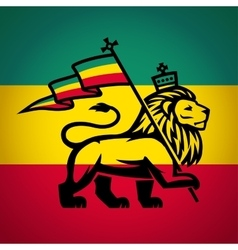 Judah lion with a rastafari flag king zion vector