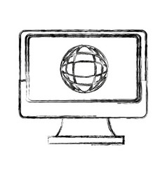 Laptop computer globe connection technology icon vector