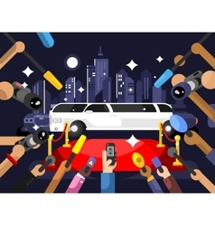 Limousine and red carpet vector