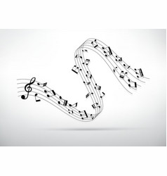 Little curve of music chords and shadow vector image