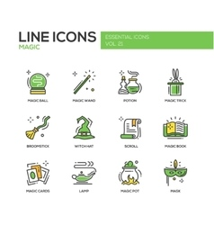 Magic - line design icons set vector image