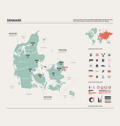 Map denmark high detailed country map vector