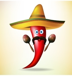 Mexican Symbols Red Chili Pepper vector image